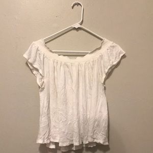 White flowy off the shoulder shirt
